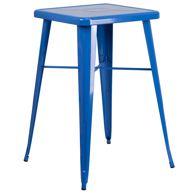 ERGONOMIC HOME 23.75'' Square Blue Metal Indoor-Outdoor Bar Height Table