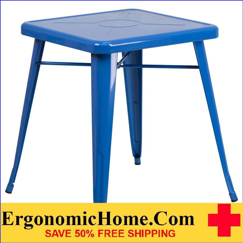 ERGONOMIC HOME 23.75'' Square Blue Metal Indoor-Outdoor Table | <b><font color=green>50% Off Read More Below...</font></b>