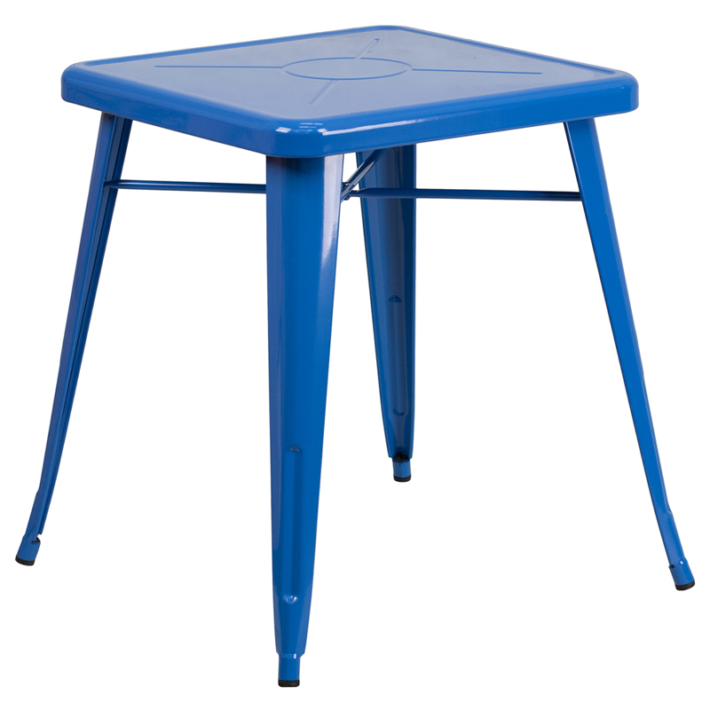 ERGONOMIC HOME 23.75'' Square Blue Metal Indoor-Outdoor Table