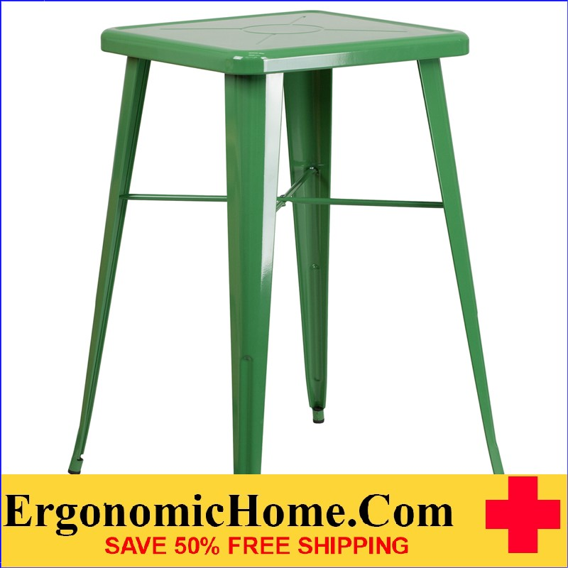 ERGONOMIC HOME 23.75'' Square Green Metal Indoor-Outdoor Bar Height Table | <b><font color=green>50% Off Read More Below...</font></b>