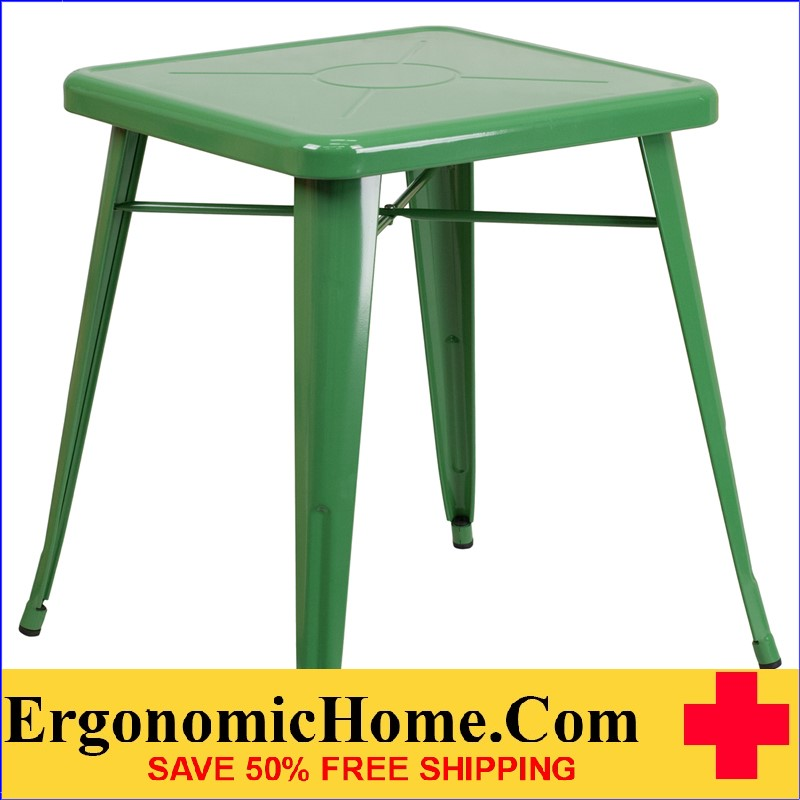 ERGONOMIC HOME 23.75'' Square Green Metal Indoor-Outdoor Table | <b><font color=green>50% Off Read More Below...</font></b>