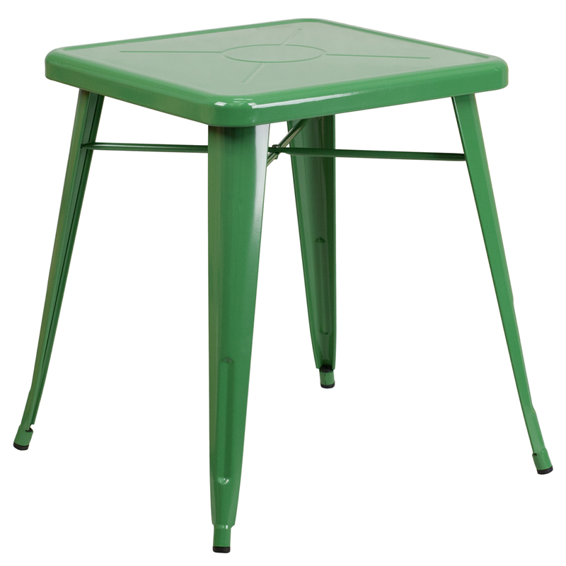 ERGONOMIC HOME 23.75'' Square Green Metal Indoor-Outdoor Table