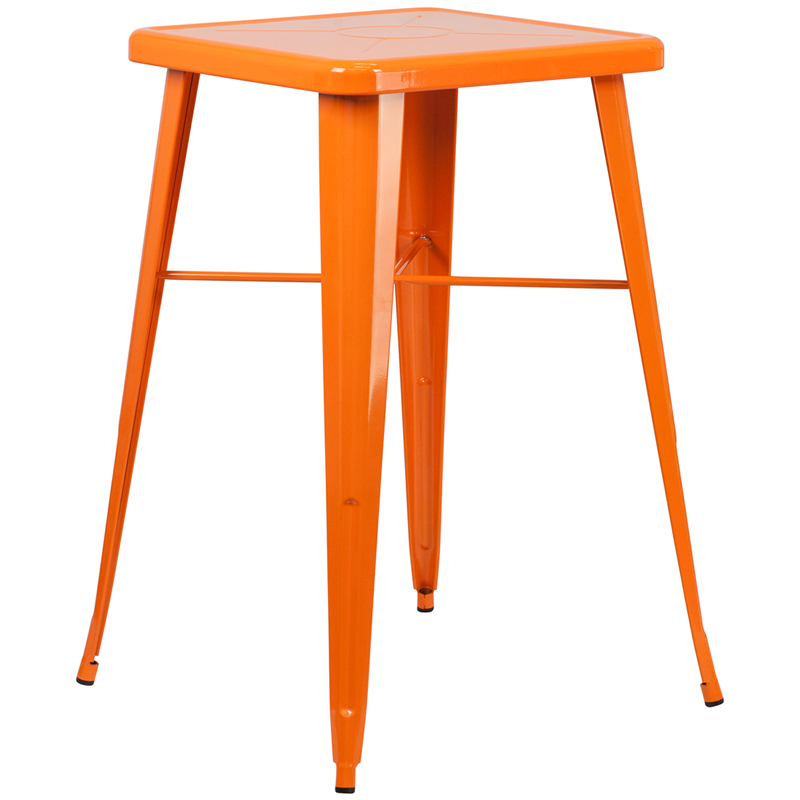 ERGONOMIC HOME 23.75'' Square Orange Metal Indoor-Outdoor Bar Height Table