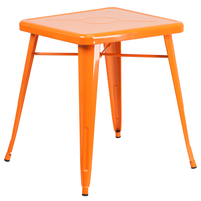 ERGONOMIC HOME 23.75'' Square Orange Metal Indoor-Outdoor Table