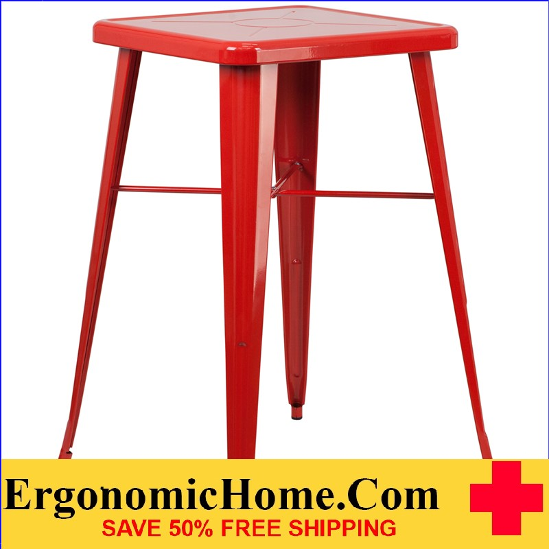 ERGONOMIC HOME 23.75'' Square Red Metal Indoor-Outdoor Bar Height Table | <b><font color=green>50% Off Read More Below...</font></b>
