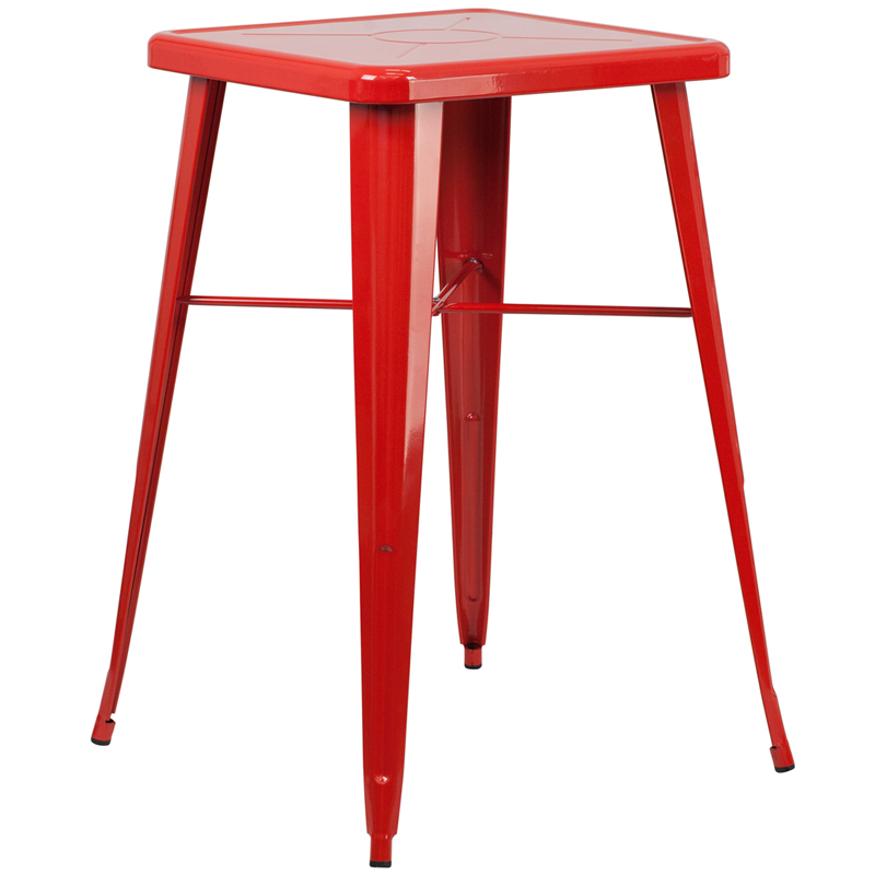 ERGONOMIC HOME 23.75'' Square Red Metal Indoor-Outdoor Bar Height Table
