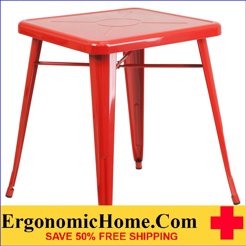 ERGONOMIC HOME 23.75'' Square Red Metal Indoor-Outdoor Table | <b><font color=green>50% Off Read More Below...</font></b>