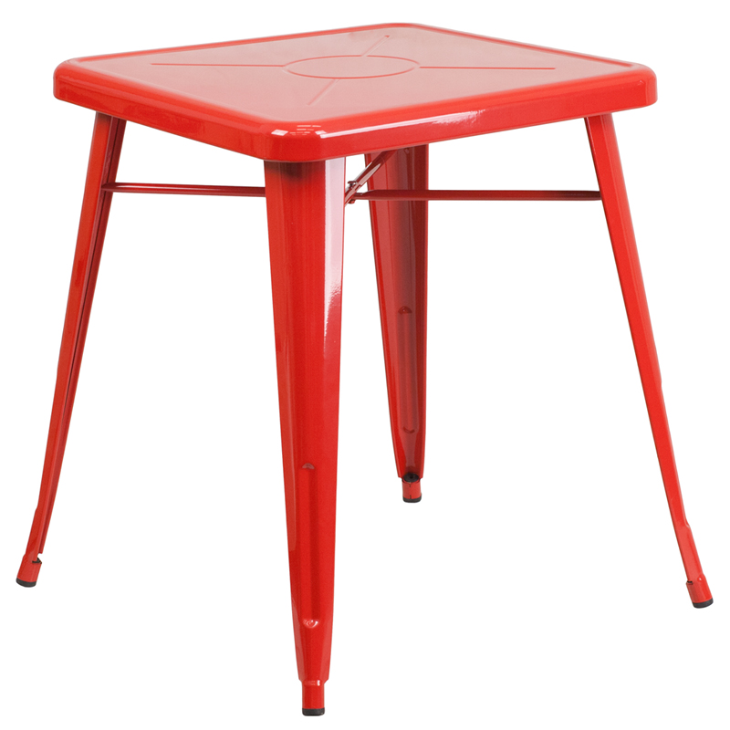 ERGONOMIC HOME 23.75'' Square Red Metal Indoor-Outdoor Table