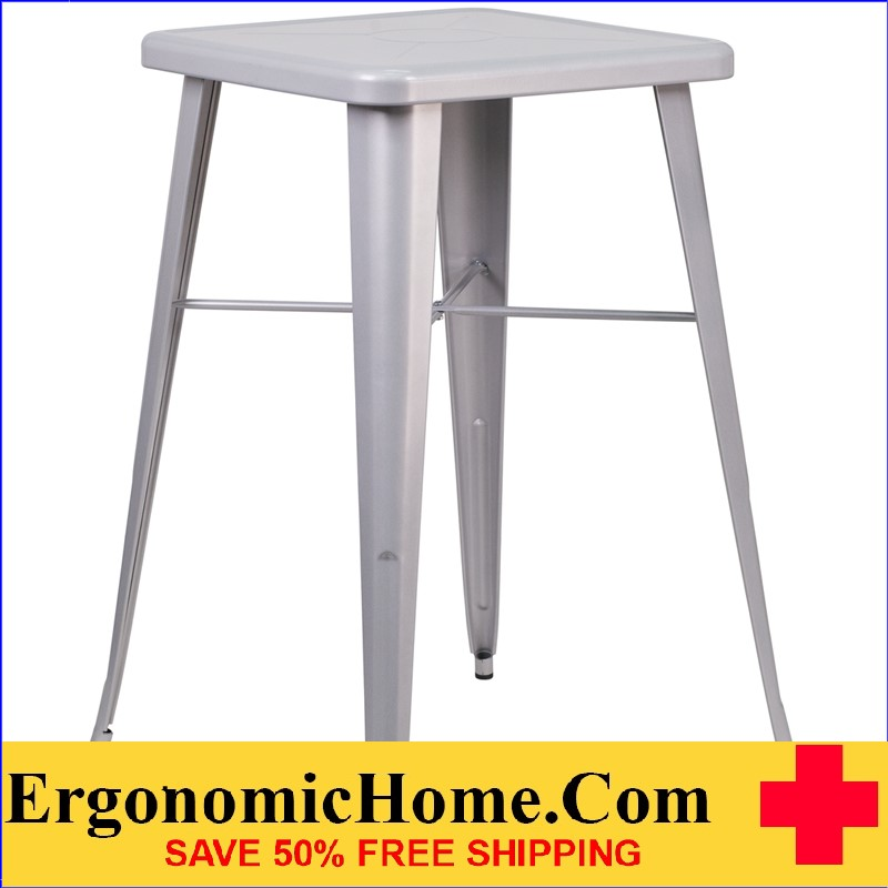 ERGONOMIC HOME 23.75'' Square Silver Metal Indoor-Outdoor Bar Height Table|<b><font color=green>50% Off Read More Below...</font></b></font></b>