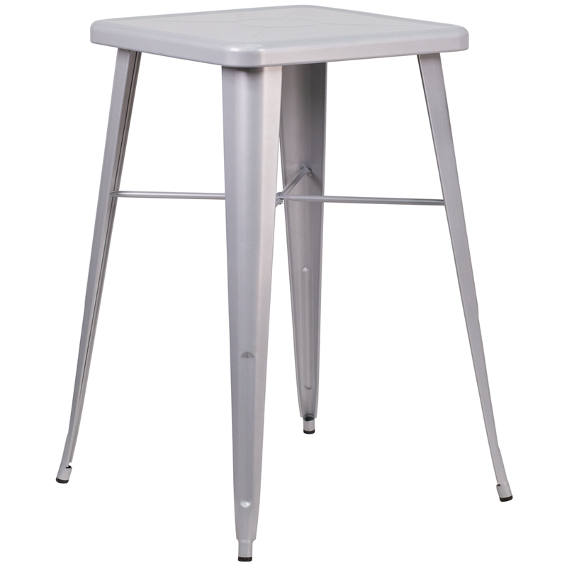 ERGONOMIC HOME 23.75'' Square Silver Metal Indoor-Outdoor Bar Height Table
