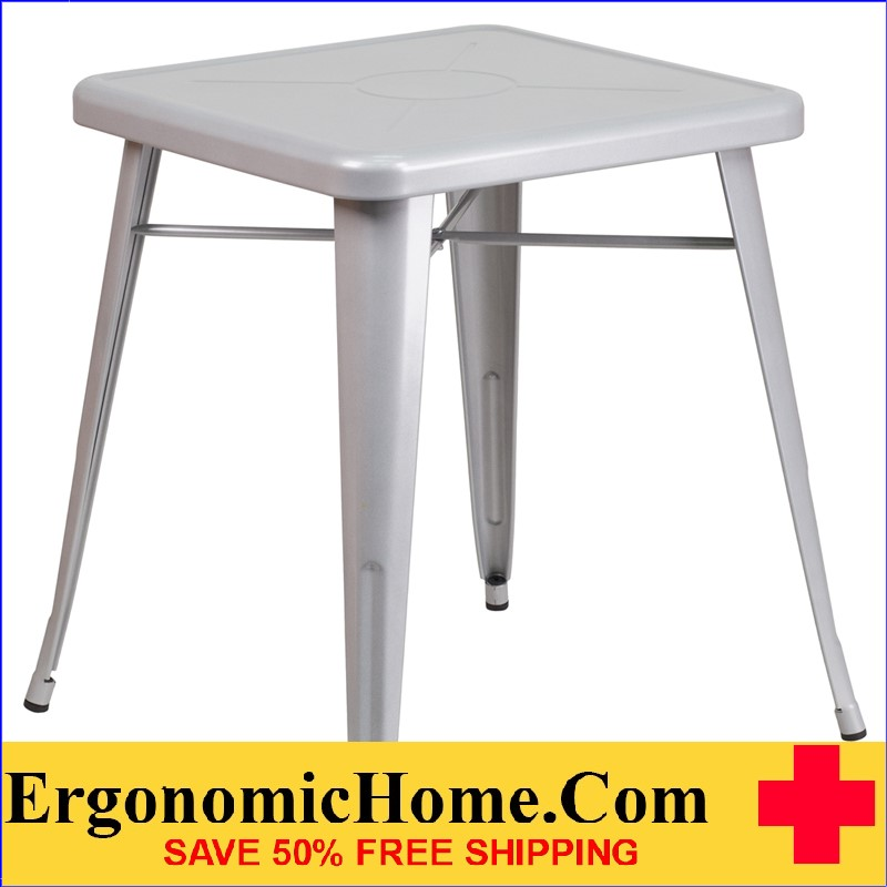 ERGONOMIC HOME 23.75'' Square Silver Metal Indoor-Outdoor Table | <b><font color=green>50% Off Read More Below...</font></b>