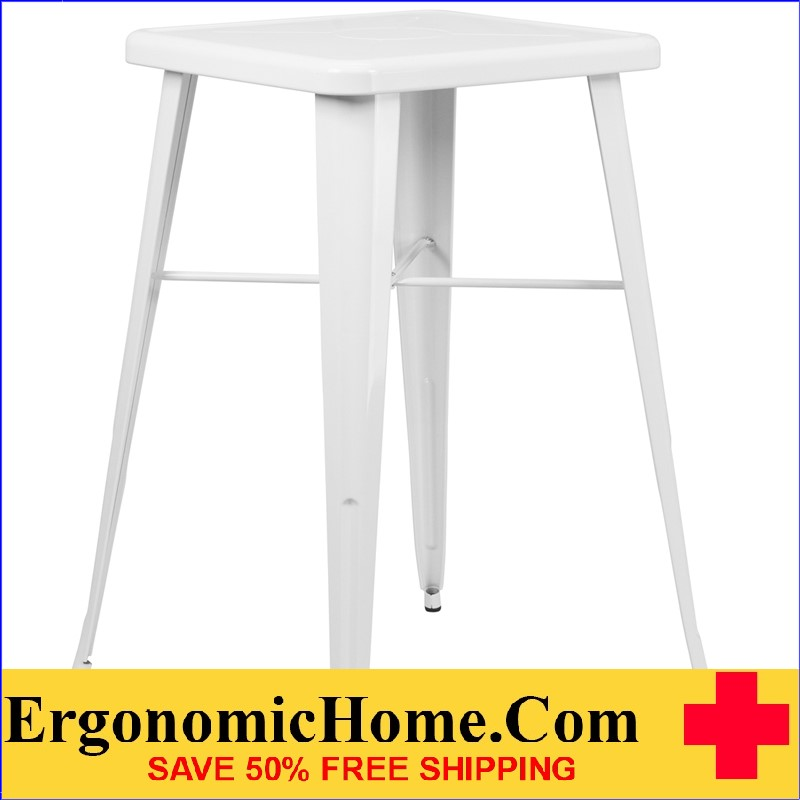 ERGONOMIC HOME 23.75'' Square White Metal Indoor-Outdoor Bar Height Table|<b><font color=green>50% Off Read More Below...</font></b></font></b>