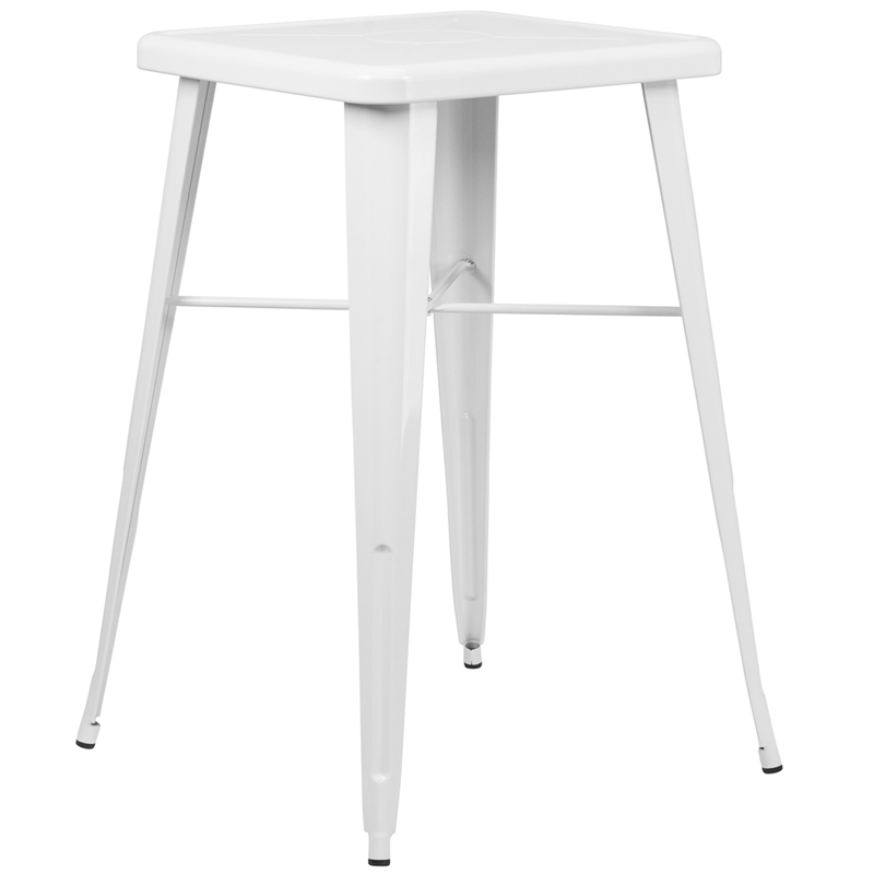 ERGONOMIC HOME 23.75'' Square White Metal Indoor-Outdoor Bar Height Table