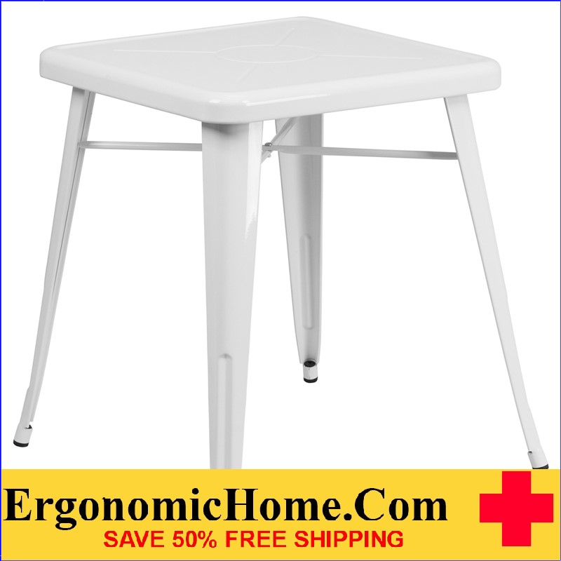 ERGONOMIC HOME 23.75'' Square White Metal Indoor-Outdoor Table | <b><font color=green>50% Off Read More Below...</font></b>