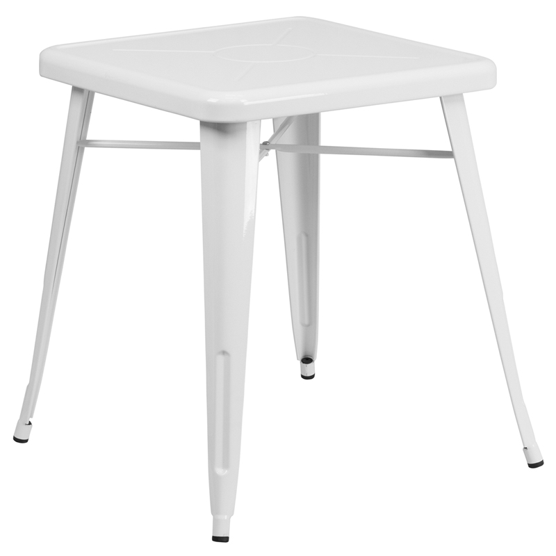 ERGONOMIC HOME 23.75'' Square White Metal Indoor-Outdoor Table