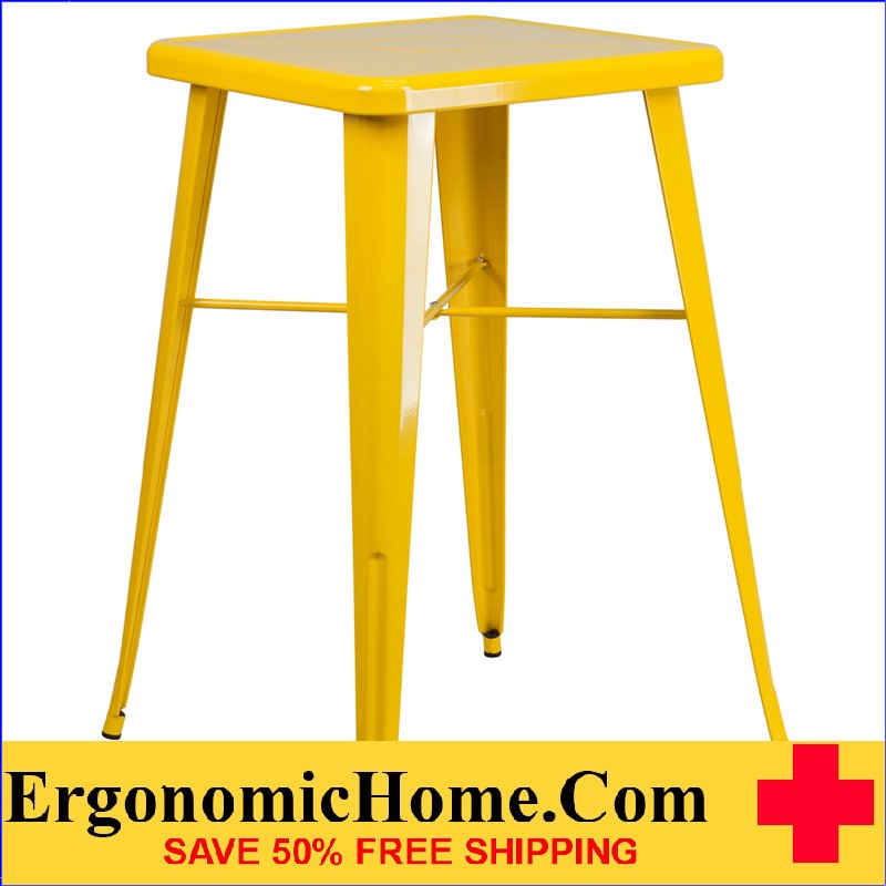 ERGONOMIC HOME 23.75'' Square Yellow Metal Indoor-Outdoor Bar Height Table | <b><font color=green>50% Off Read More Below...</font></b>