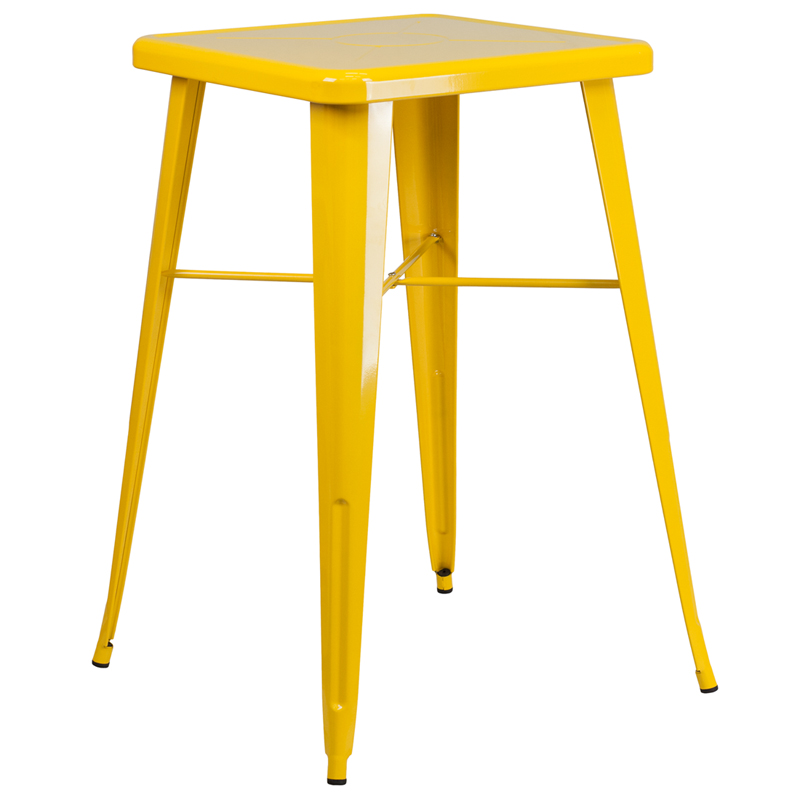 ERGONOMIC HOME 23.75'' Square Yellow Metal Indoor-Outdoor Bar Height Table