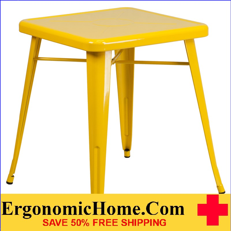 ERGONOMIC HOME 23.75'' Square Yellow Metal Indoor-Outdoor Table | <b><font color=green>50% Off Read More Below...</font></b>