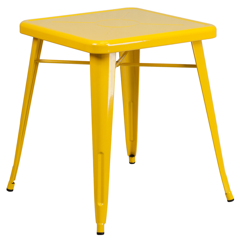 ERGONOMIC HOME 23.75'' Square Yellow Metal Indoor-Outdoor Table