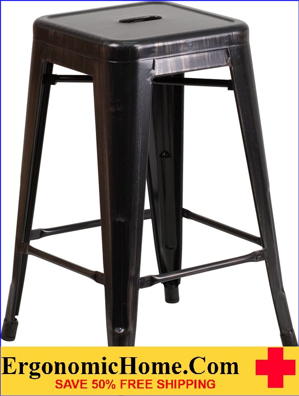 ERGONOMIC HOME 24'' High Backless Black-Antique Gold Metal Indoor-Outdoor Counter Height Stool with Square Seat|<b><font color=green>50% Off Read More Below...</font></b></font></b>