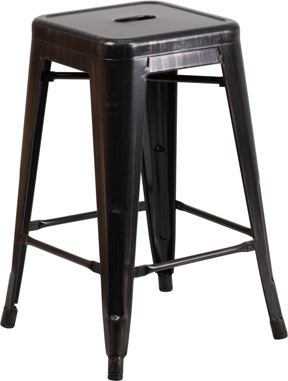 ERGONOMIC HOME 24'' High Backless Black-Antique Gold Metal Indoor-Outdoor Counter Height Stool with Square Seat