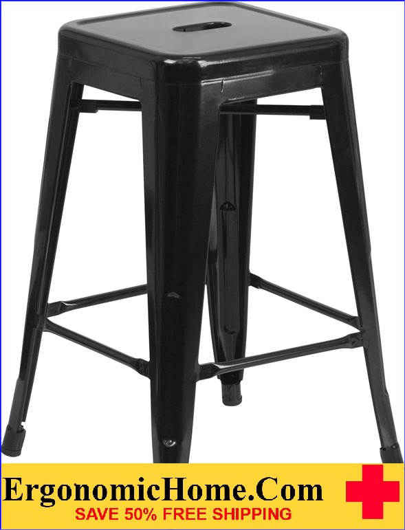 ERGONOMIC HOME 24'' High Backless Black Metal Indoor-Outdoor Counter Height Stool with Square Seat  | <b><font color=green>50% Off Read More Below...</font></b>
