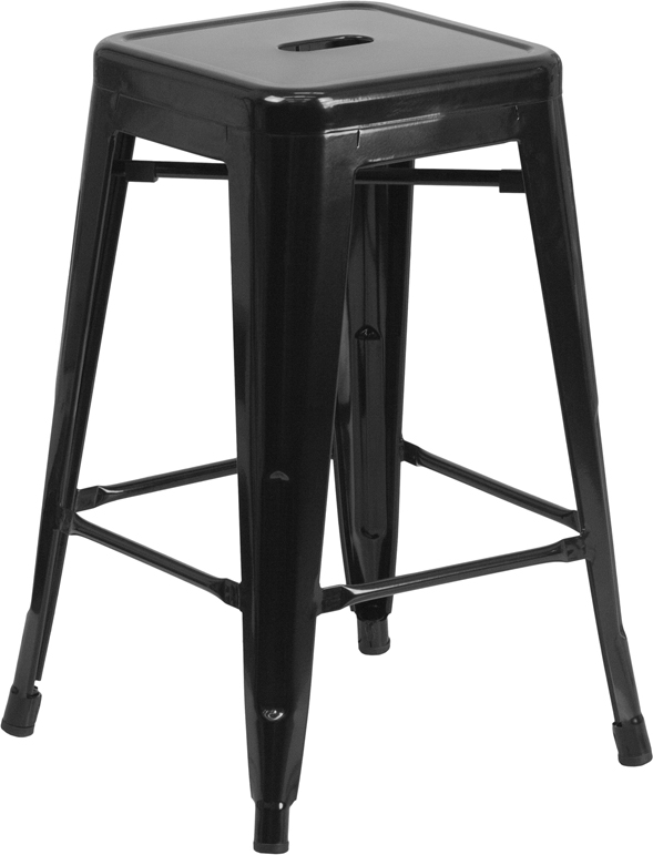 ERGONOMIC HOME 24'' High Backless Black Metal Indoor-Outdoor Counter Height Stool with Square Seat