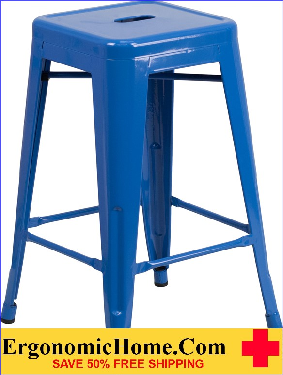 ERGONOMIC HOME 24'' High Backless Blue Metal Indoor-Outdoor Counter Height Stool with Square Seat  | <b><font color=green>50% Off Read More Below...</font></b>