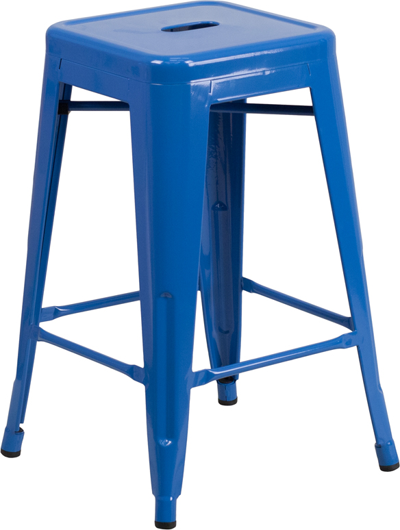 ERGONOMIC HOME 24'' High Backless Blue Metal Indoor-Outdoor Counter Height Stool with Square Seat