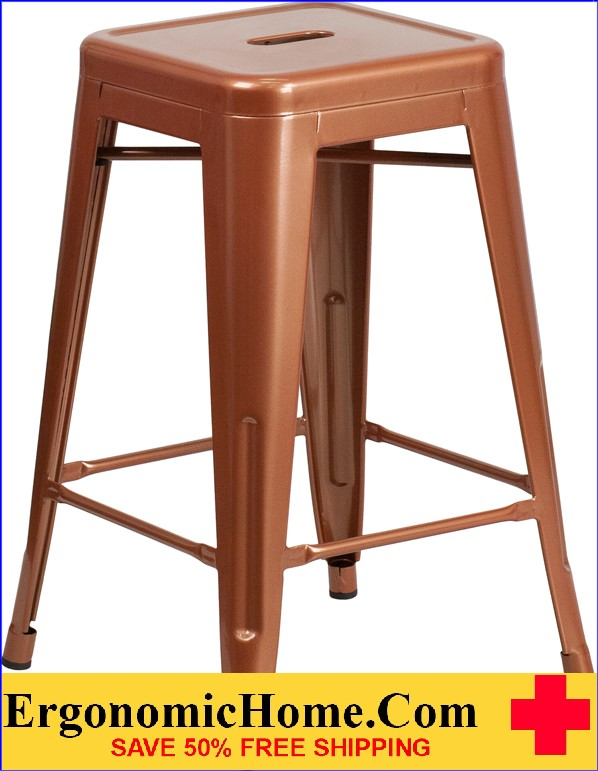 ERGONOMIC HOME 24'' High Backless Copper Indoor-Outdoor Counter Height Stool <b><font color=green>50% Off Read More Below...</font></b>