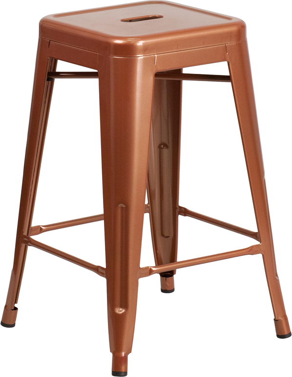 ERGONOMIC HOME 24'' High Backless Copper Indoor-Outdoor Counter Height Stool
