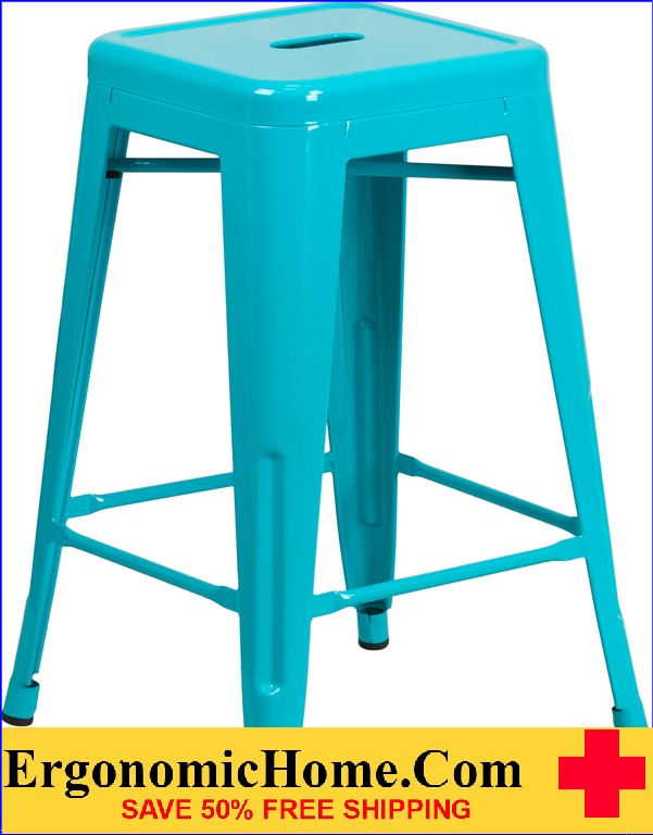 ERGONOMIC HOME 24'' High Backless Crystal Blue Indoor-Outdoor Counter Height Stool <b><font color=green>50% Off Read More Below...</font></b></font></b>