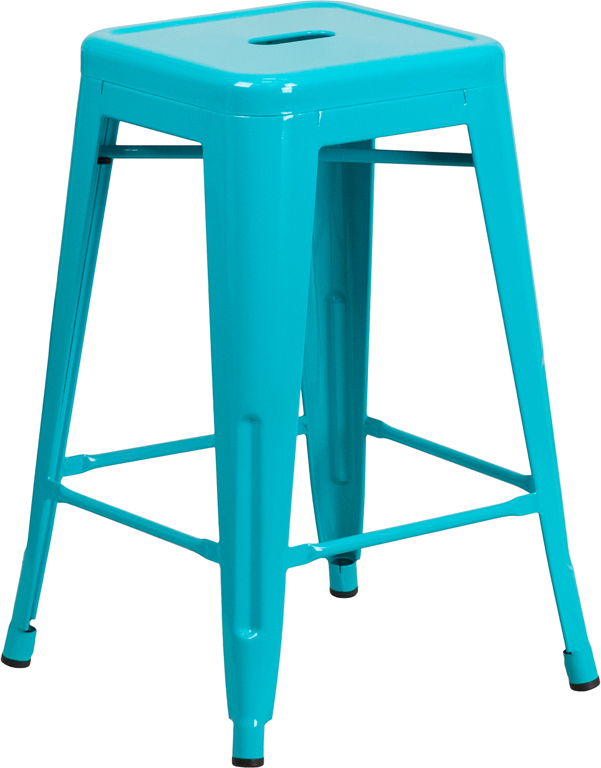 ERGONOMIC HOME 24'' High Backless Crystal Blue Indoor-Outdoor Counter Height Stool