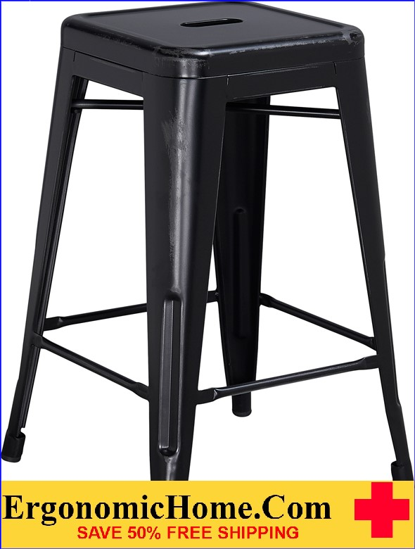 ERGONOMIC HOME 24'' High Backless Distressed Black Metal Indoor-Outdoor Counter Height Stool <b><font color=green>50% Off Read More Below...</font></b>