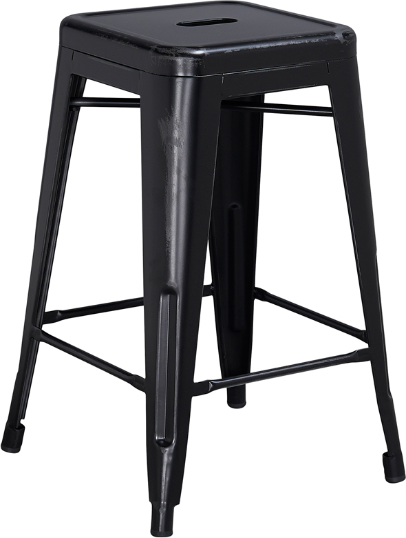 ERGONOMIC HOME 24'' High Backless Distressed Black Metal Indoor-Outdoor Counter Height Stool