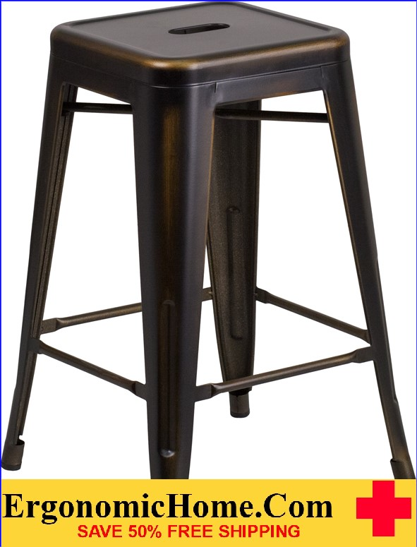 ERGONOMIC HOME 24'' High Backless Distressed Copper Metal Indoor-Outdoor Counter Height Stool <b><font color=green>50% Off Read More Below...</font></b>