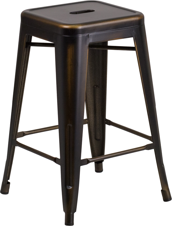 ERGONOMIC HOME 24'' High Backless Distressed Copper Metal Indoor-Outdoor Counter Height Stool