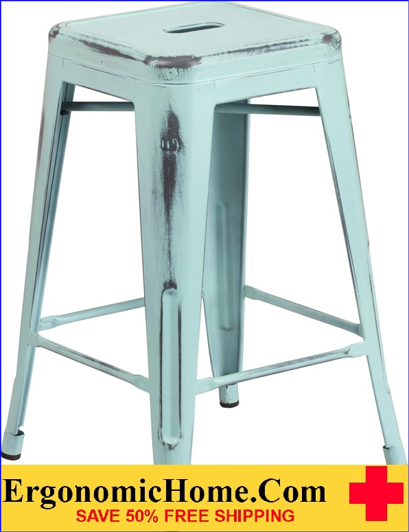 ERGONOMIC HOME 24'' High Backless Distressed Dream Blue Metal Indoor-Outdoor Counter Height Stool <b><font color=green>50% Off Read More Below...</font></b></font></b>