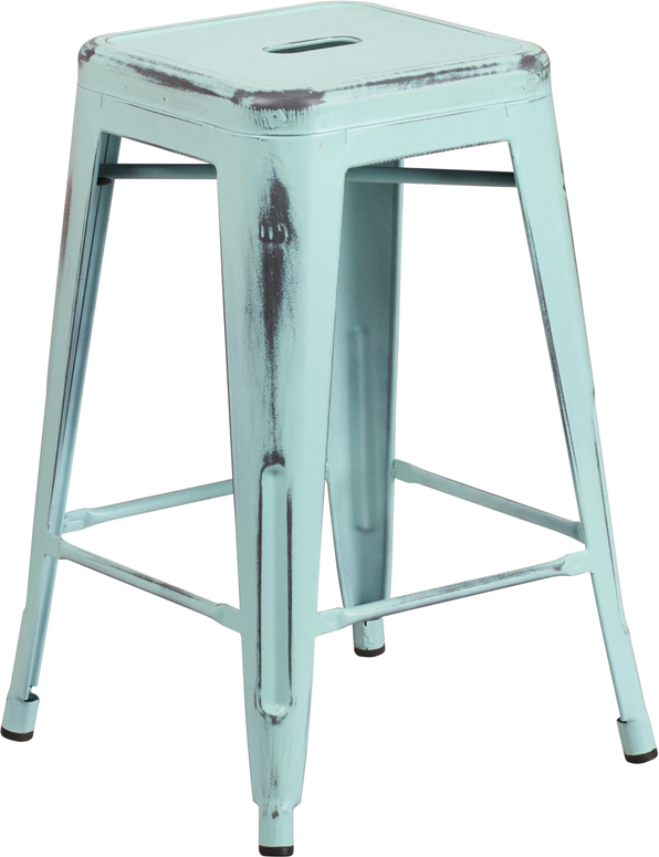 ERGONOMIC HOME 24'' High Backless Distressed Dream Blue Metal Indoor-Outdoor Counter Height Stool