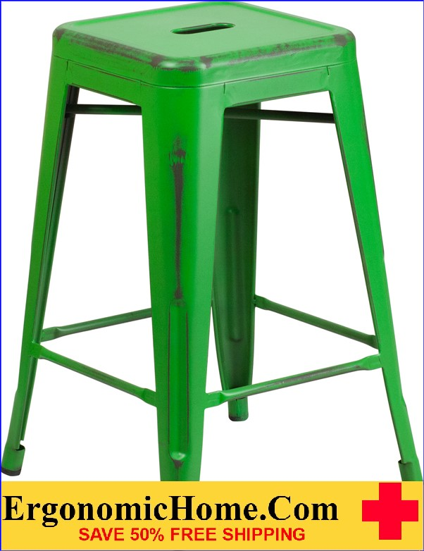 ERGONOMIC HOME 24'' High Backless Distressed Green Metal Indoor-Outdoor Counter Height Stool <b><font color=green>50% Off Read More Below...</font></b></font></b>