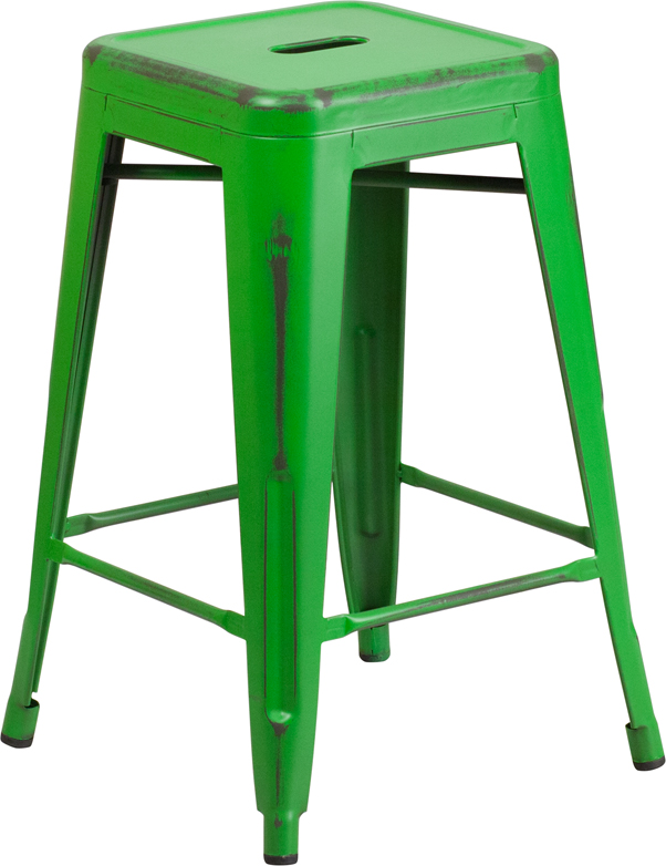 ERGONOMIC HOME 24'' High Backless Distressed Green Metal Indoor-Outdoor Counter Height Stool