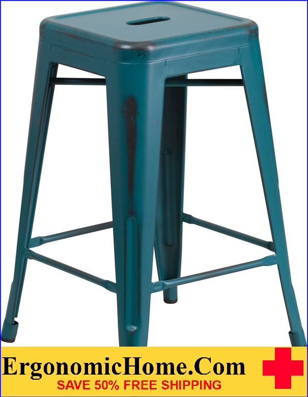 ERGONOMIC HOME 24'' High Backless Distressed Kelly Blue Metal Indoor-Outdoor Counter Height Stool <b><font color=green>50% Off Read More Below...</font></b>