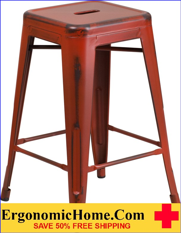 ERGONOMIC HOME 24'' High Backless Distressed Kelly Red Metal Indoor-Outdoor Counter Height Stool <b><font color=green>50% Off Read More Below...</font></b>