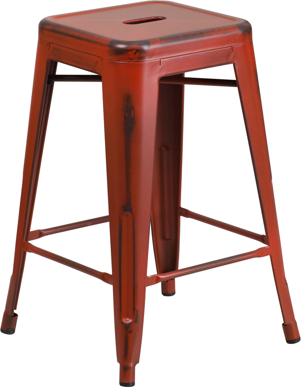 ERGONOMIC HOME 24'' High Backless Distressed Kelly Red Metal Indoor-Outdoor Counter Height Stool