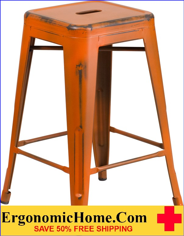 ERGONOMIC HOME 24'' High Backless Distressed Orange Metal Indoor-Outdoor Counter Height Stool <b><font color=green>50% Off Read More Below...</font></b>