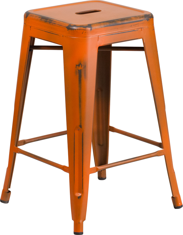 ERGONOMIC HOME 24'' High Backless Distressed Orange Metal Indoor-Outdoor Counter Height Stool