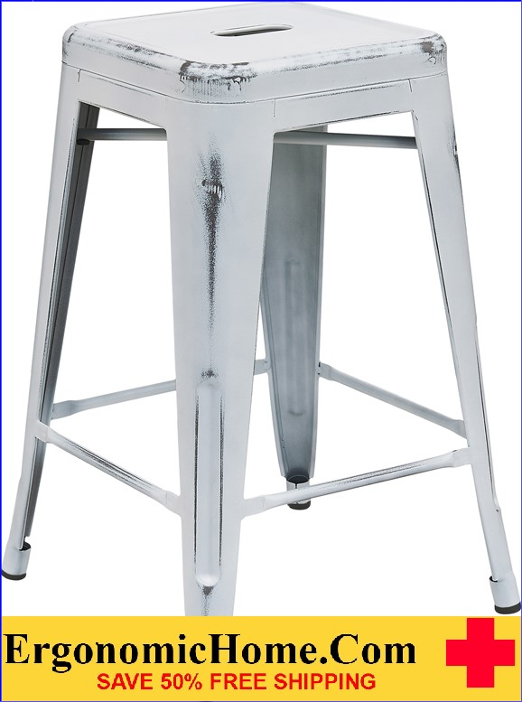 ERGONOMIC HOME 24'' High Backless Distressed White Metal Indoor-Outdoor Counter Height Stool <b><font color=green>50% Off Read More Below...</font></b>