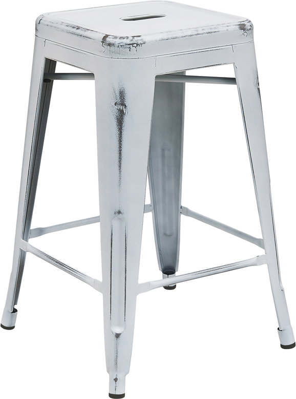 ERGONOMIC HOME 24'' High Backless Distressed White Metal Indoor-Outdoor Counter Height Stool