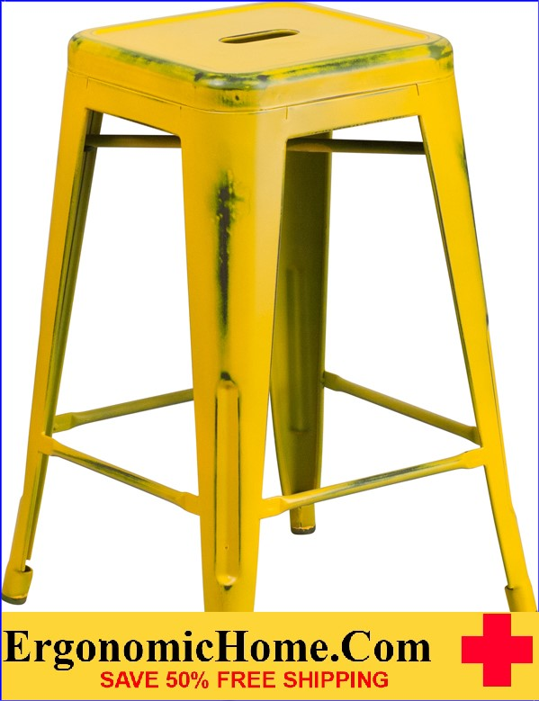 ERGONOMIC HOME 24'' High Backless Distressed Yellow Metal Indoor-Outdoor Counter Height Stool <b><font color=green>50% Off Read More Below...</font></b>