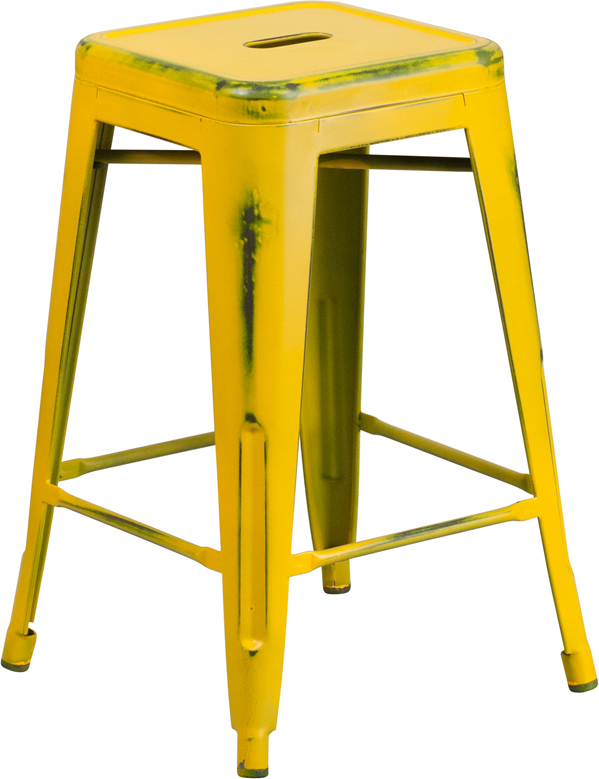 ERGONOMIC HOME 24'' High Backless Distressed Yellow Metal Indoor-Outdoor Counter Height Stool